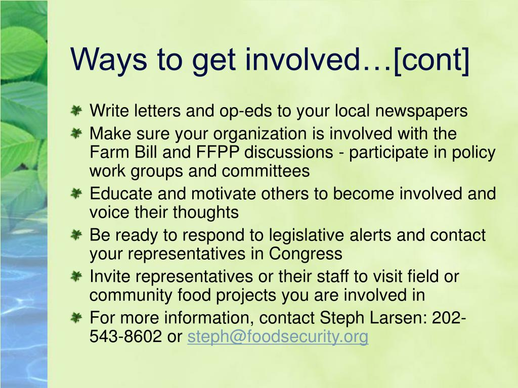 Ways to get involved…[cont]