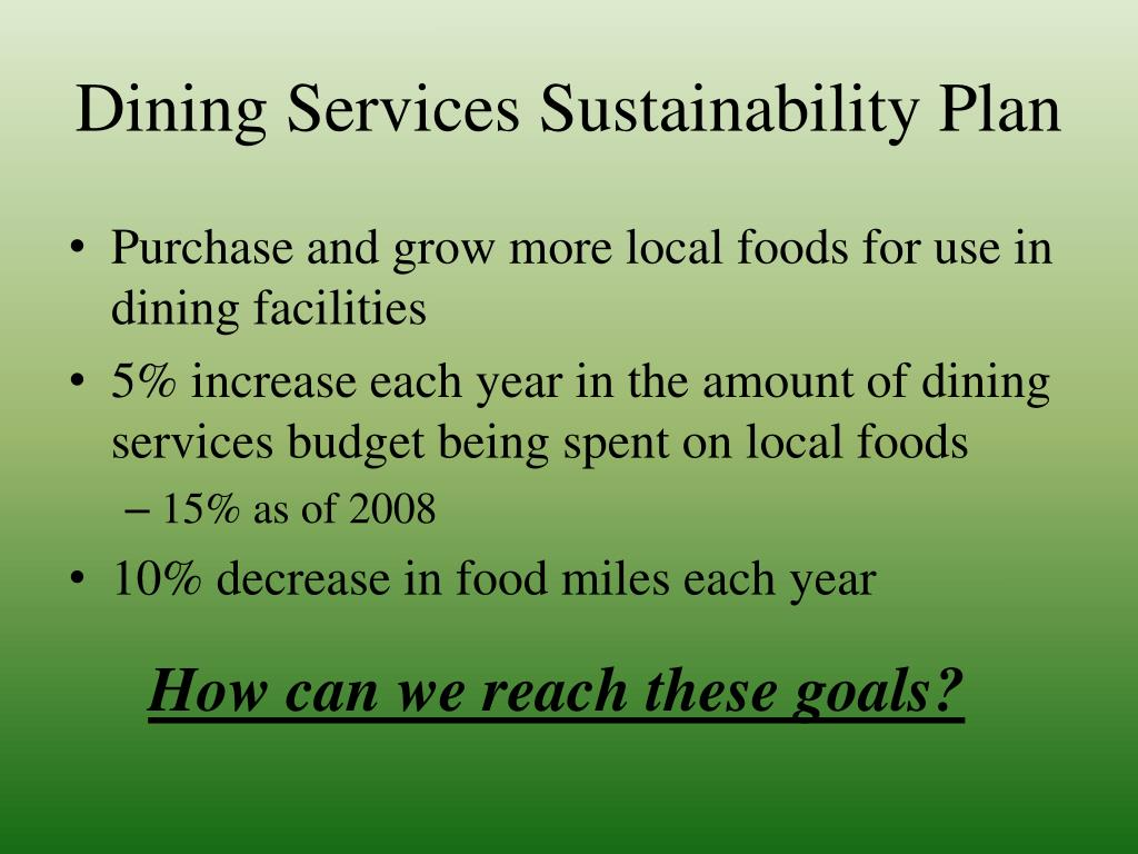 Dining Services Sustainability Plan