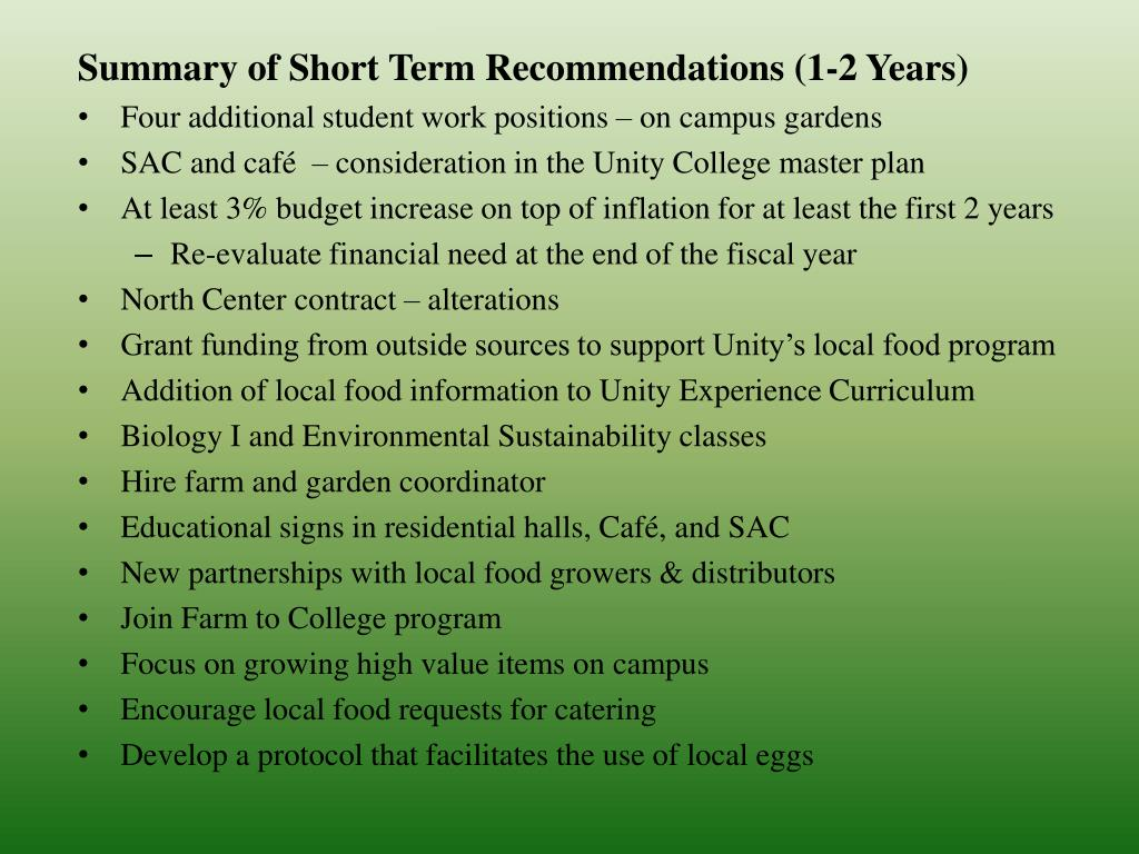 Summary of Short Term Recommendations (1-2 Years)