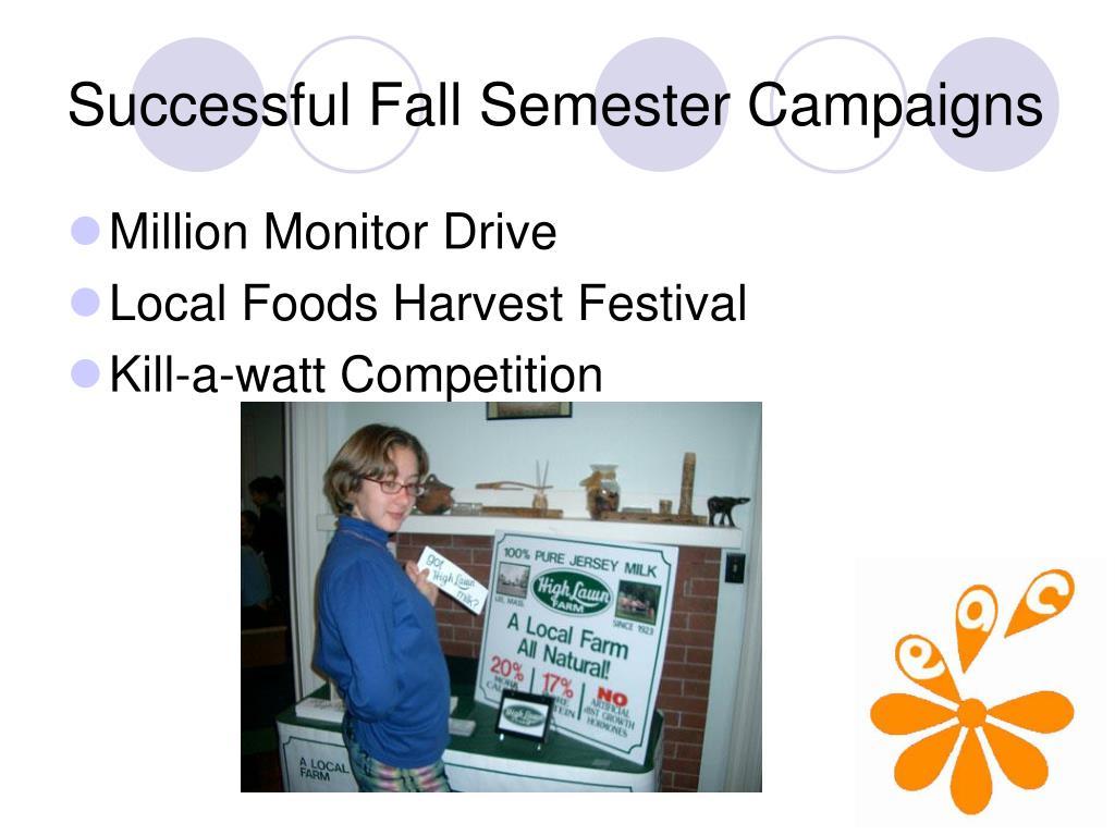 Successful Fall Semester Campaigns