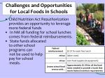 challenges and opportunities for local foods in schools
