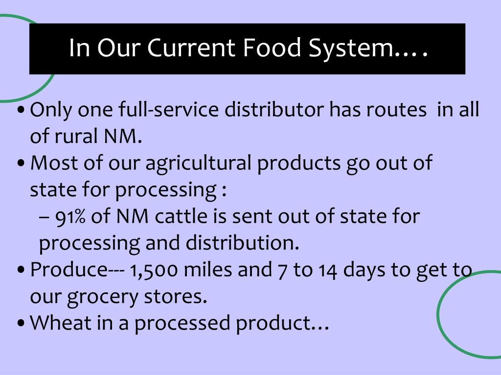 In Our Current Food System….