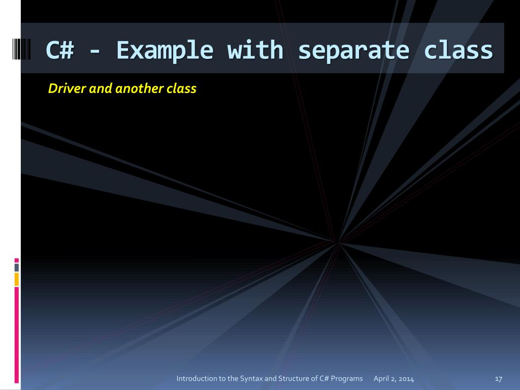 C# - Example with separate class