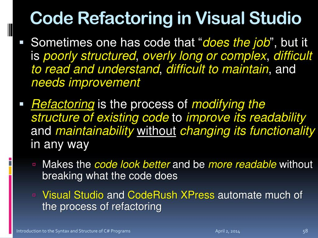 Code Refactoring in Visual Studio