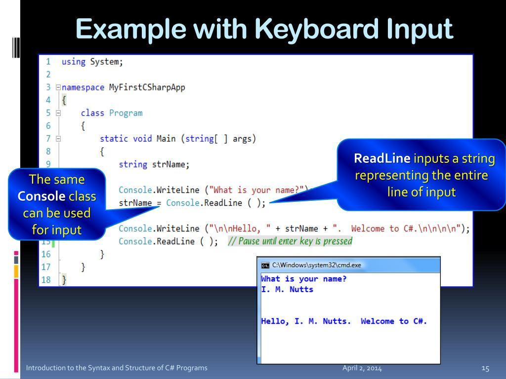 Example with Keyboard Input