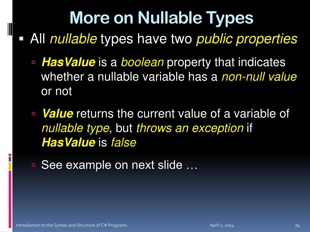 More on Nullable Types