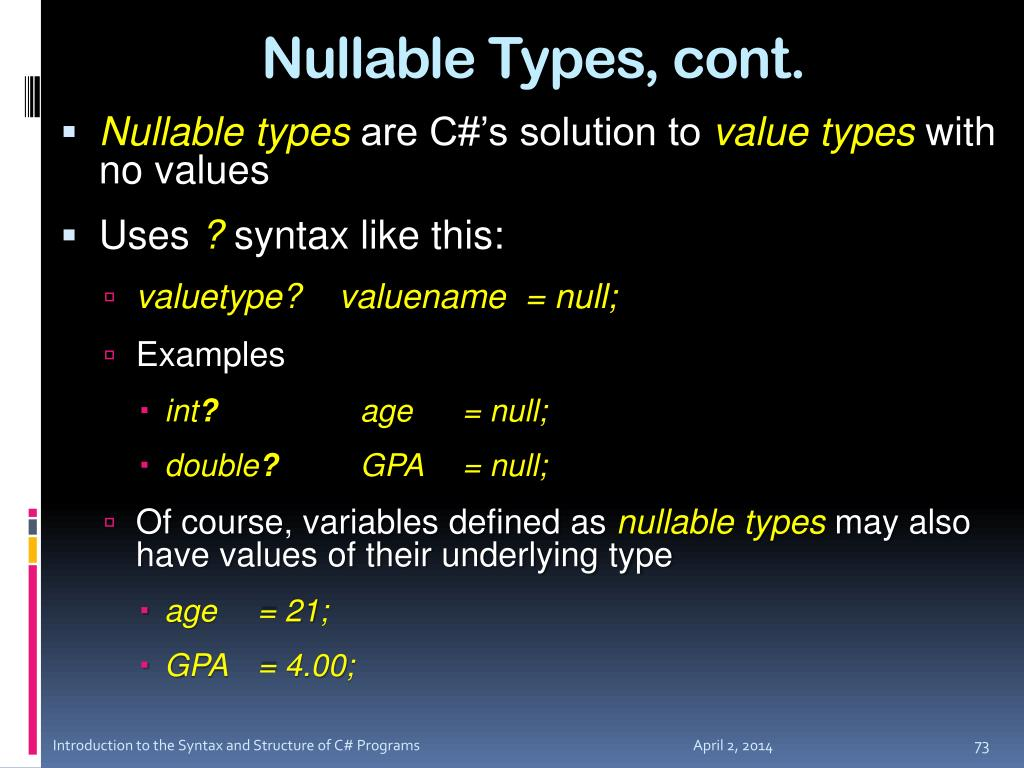 Nullable Types, cont.