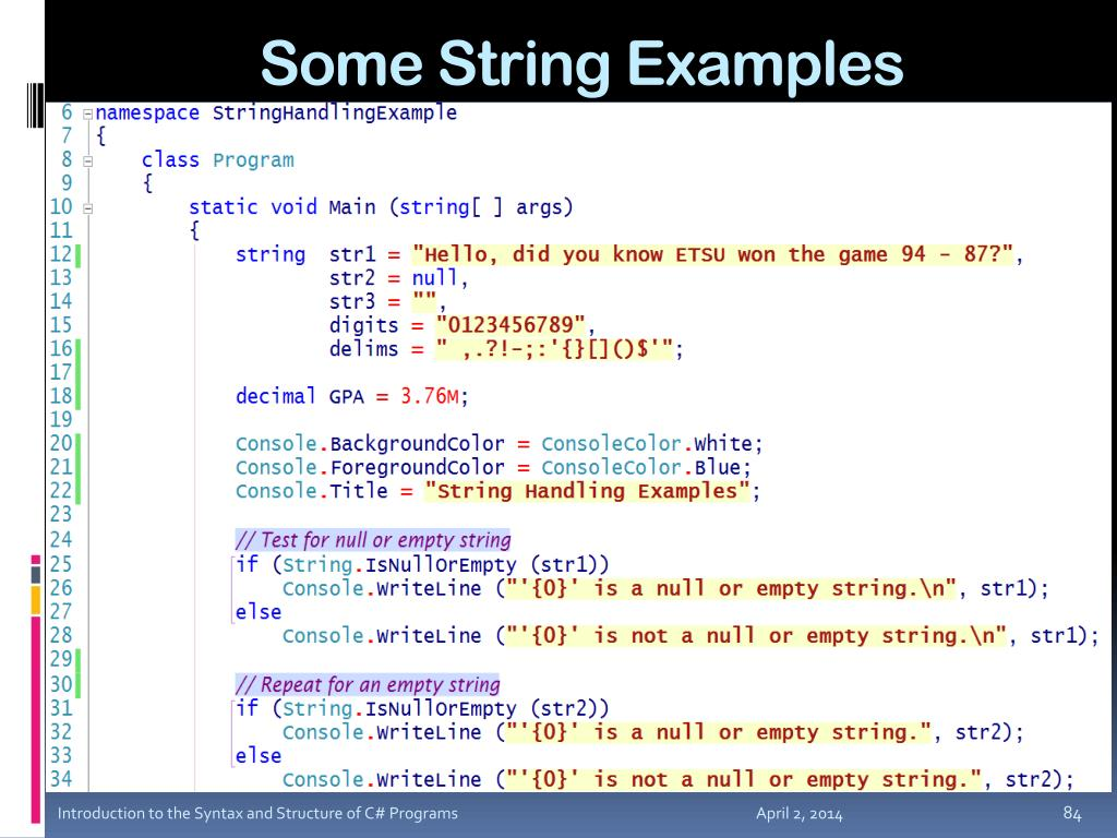 Some String Examples
