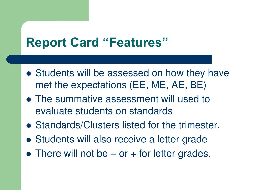 "Report Card ""Features"""
