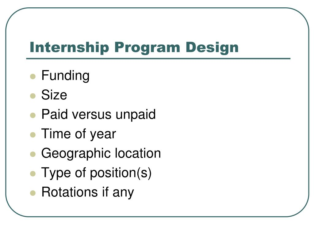 Internship Program Design