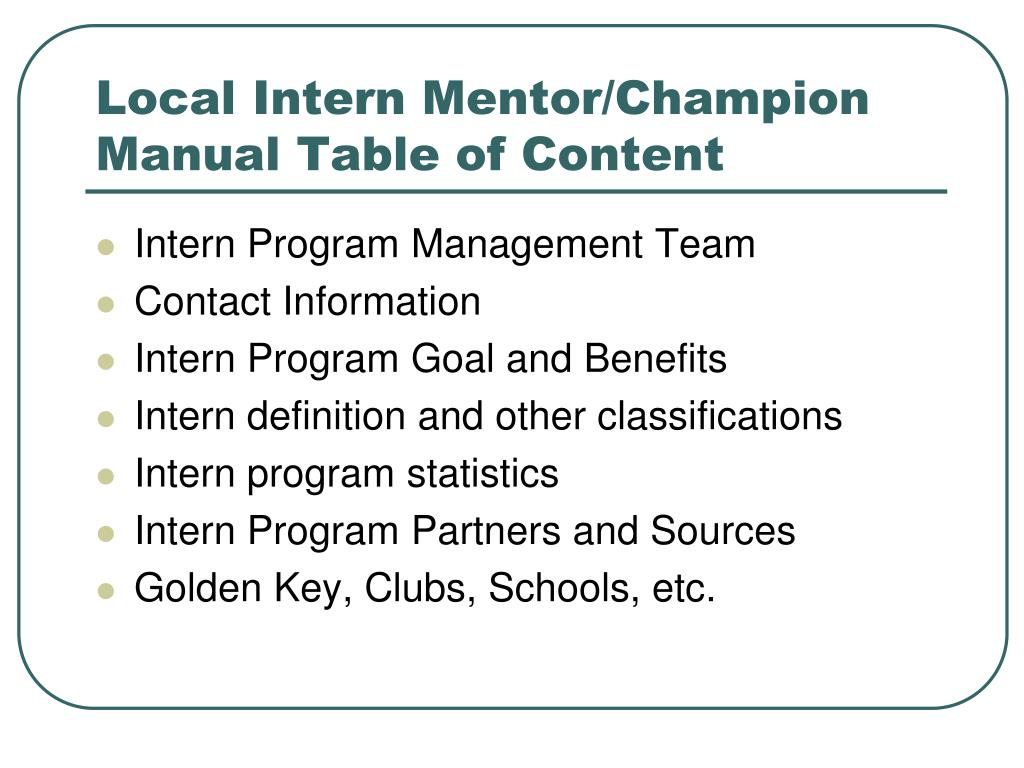 Local Intern Mentor/Champion Manual Table of Content