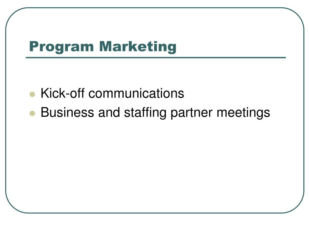 Program Marketing