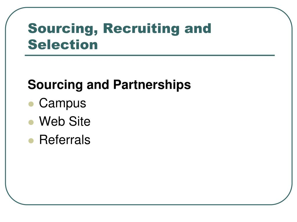 Sourcing, Recruiting and Selection