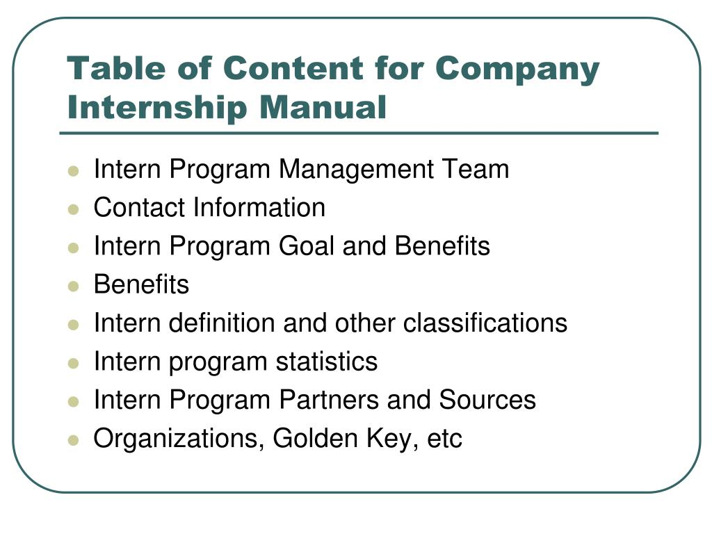 Table of Content for Company Internship Manual