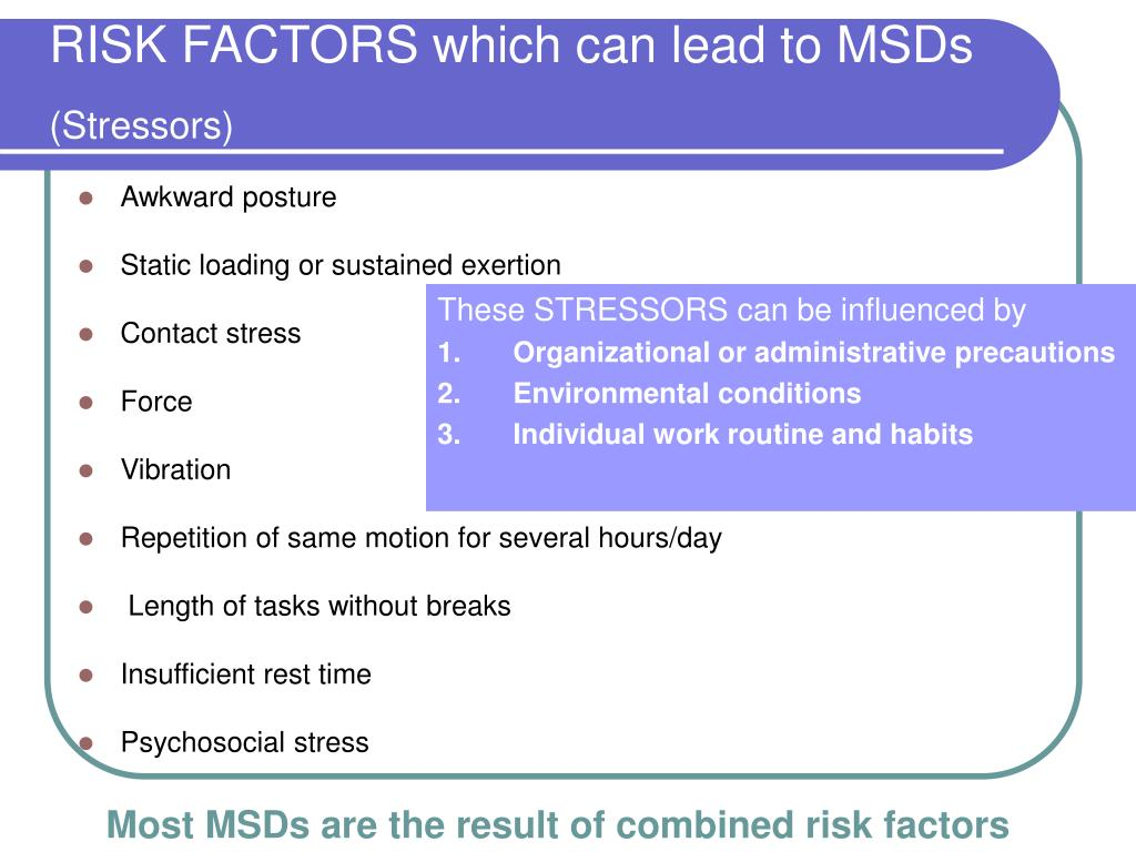 RISK FACTORS which can lead to MSDs
