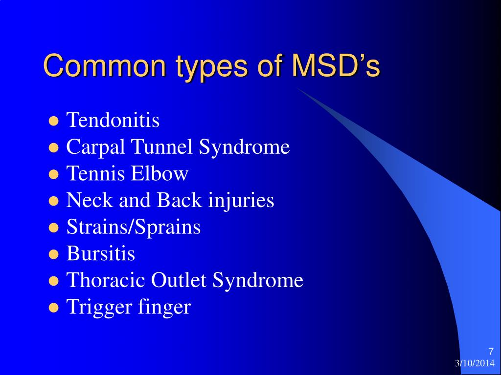 Common types of MSD's