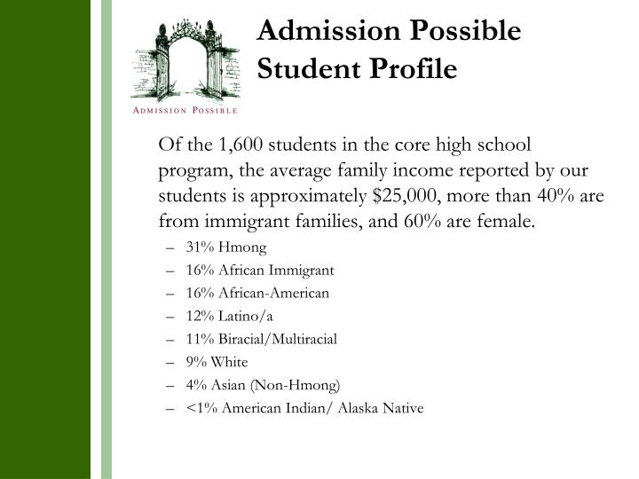 Admission Possible Student Profile