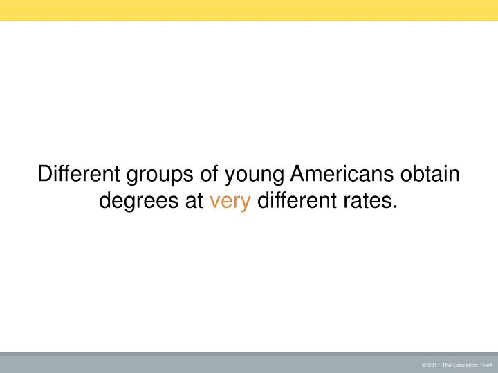 Different groups of young Americans obtain degrees at