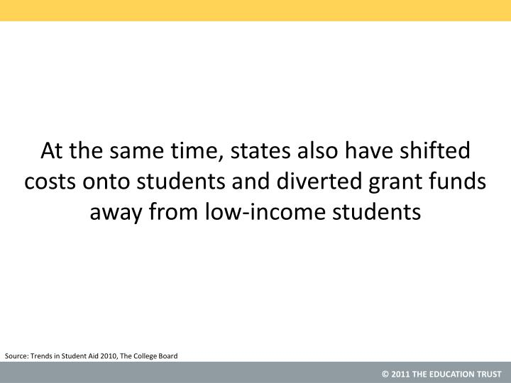 At the same time, states also have shifted costs onto students and diverted grant funds away from low-income students