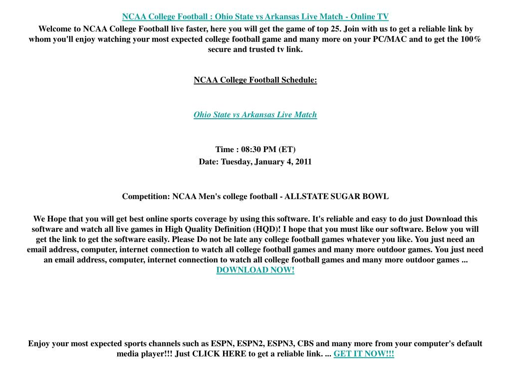 NCAA College Football : Ohio State vs Arkansas Live Match - Online TV