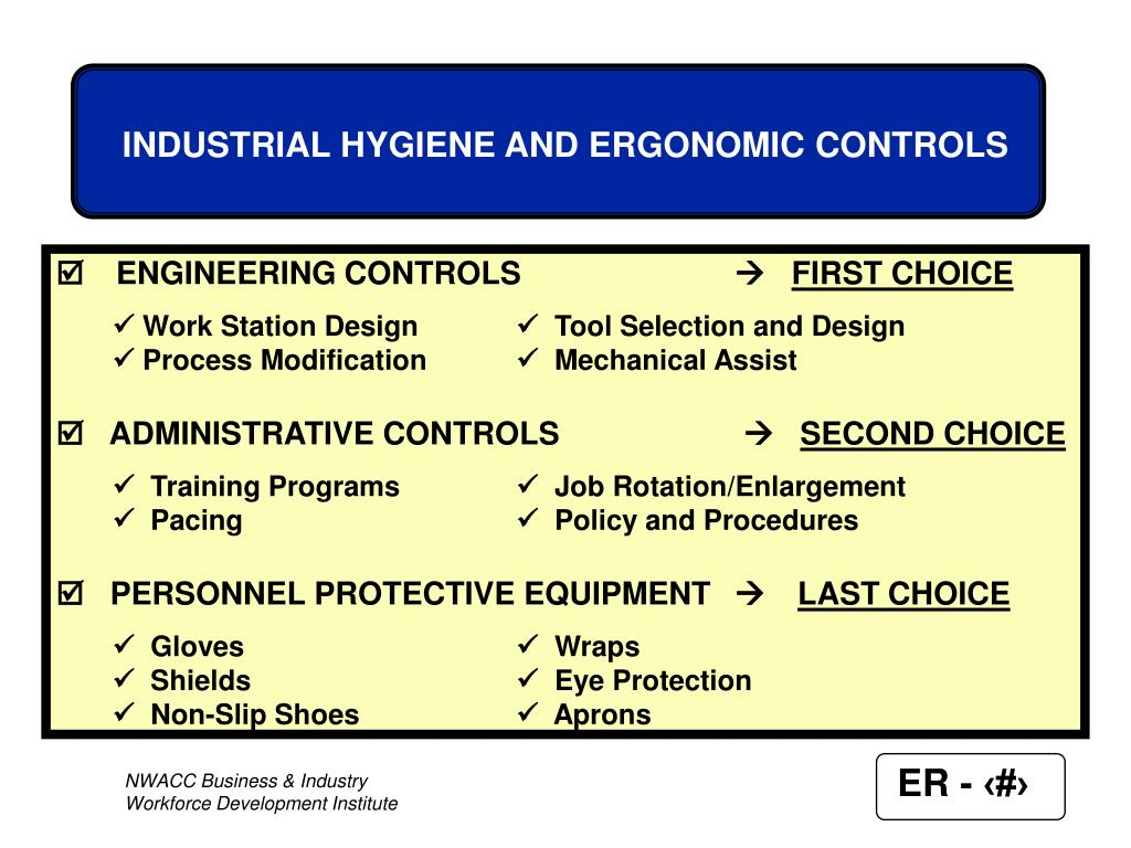 INDUSTRIAL HYGIENE AND ERGONOMIC CONTROLS