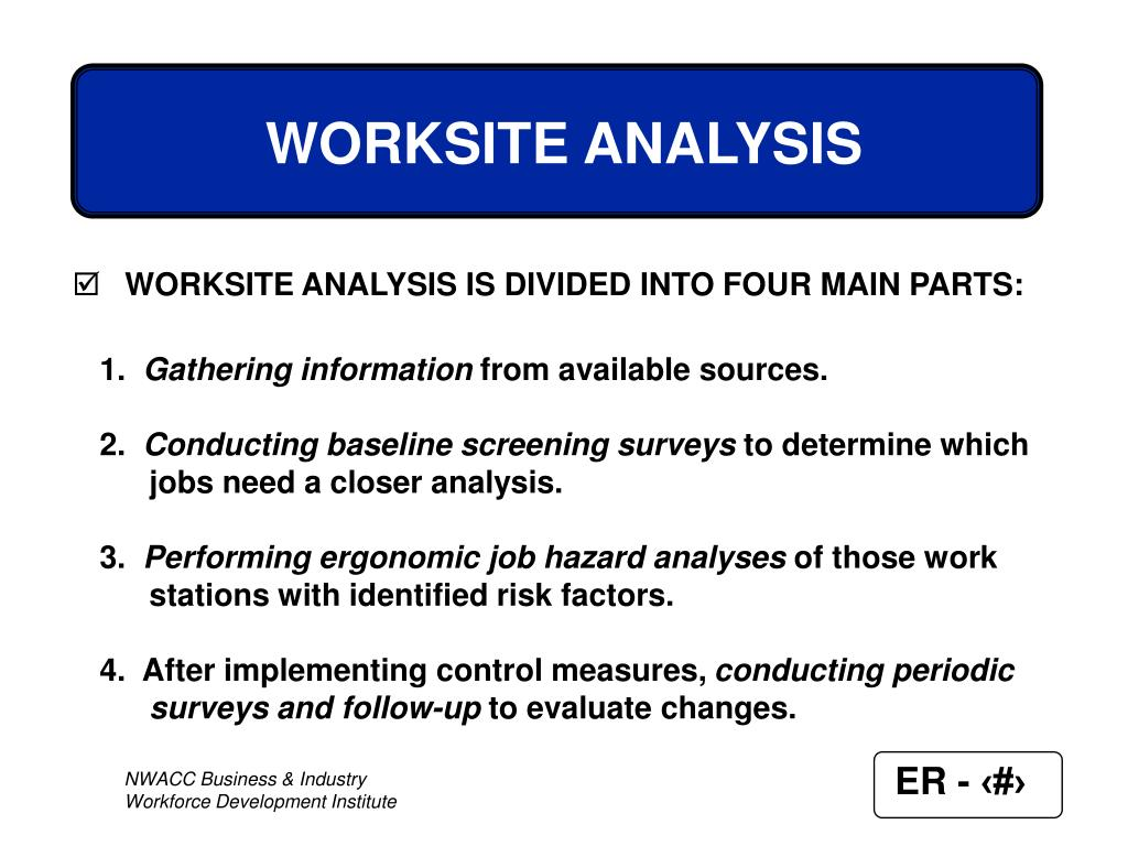 WORKSITE ANALYSIS IS DIVIDED INTO FOUR MAIN PARTS:
