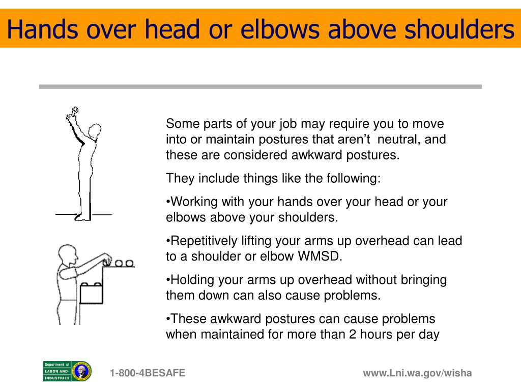 Hands over head or elbows above shoulders