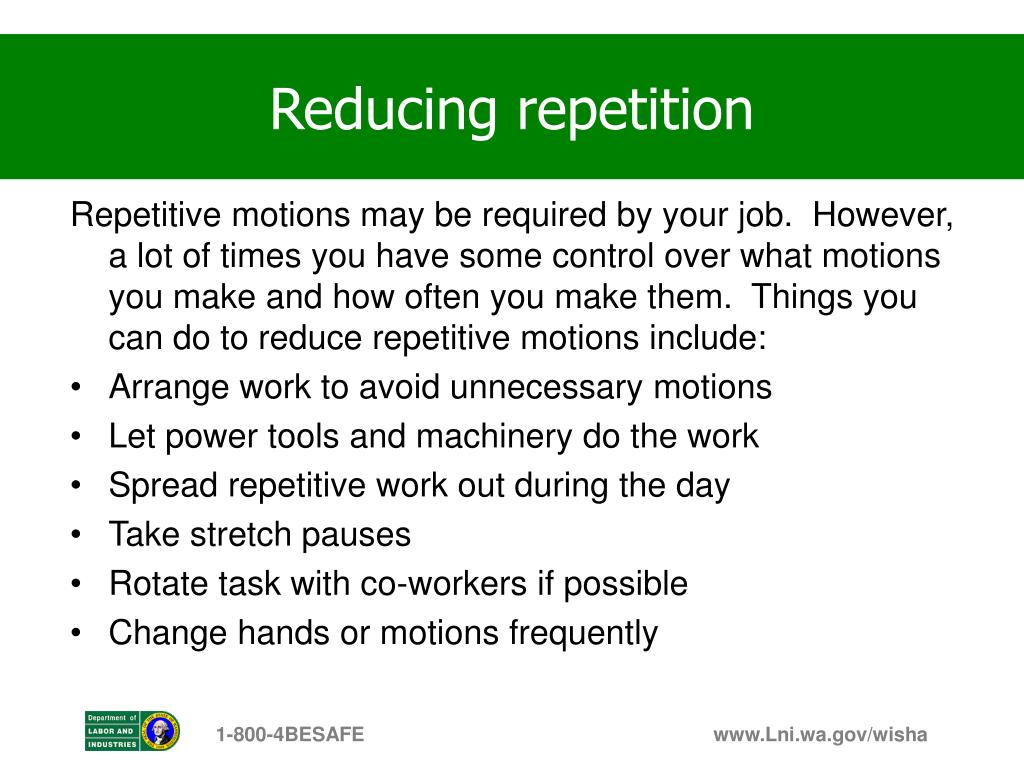 Reducing repetition