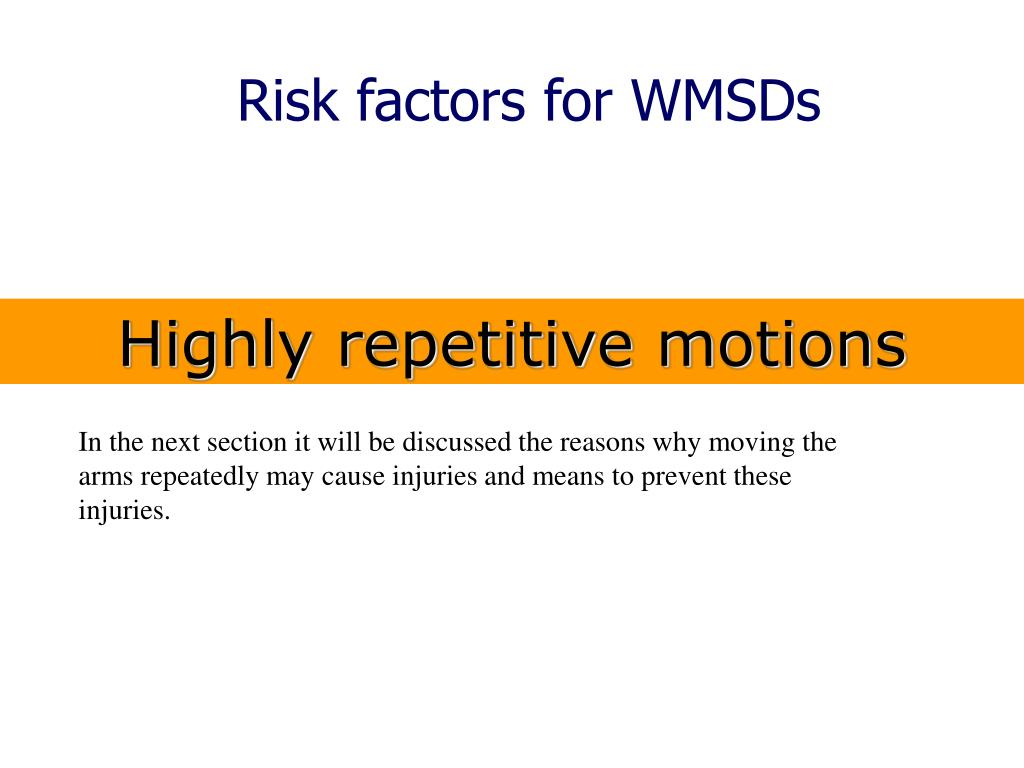 Risk factors for WMSDs