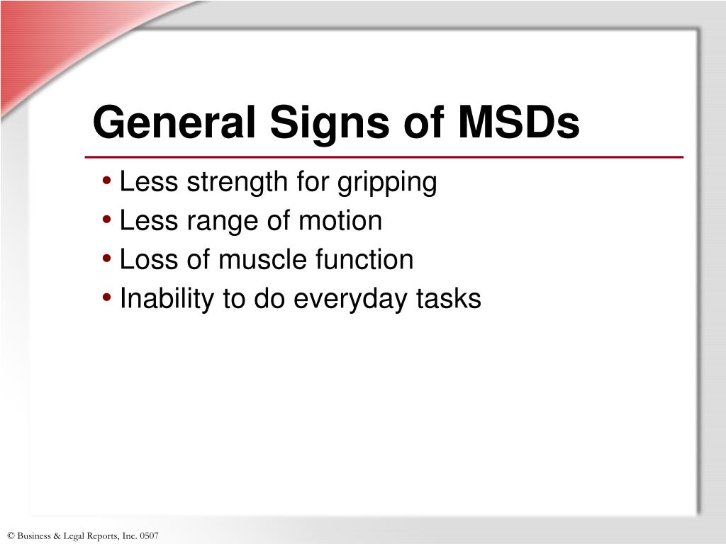 General Signs of MSDs