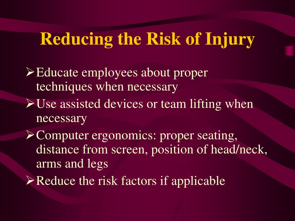 Reducing the Risk of Injury