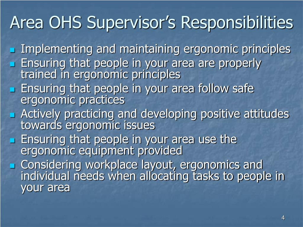 Area OHS Supervisor's Responsibilities