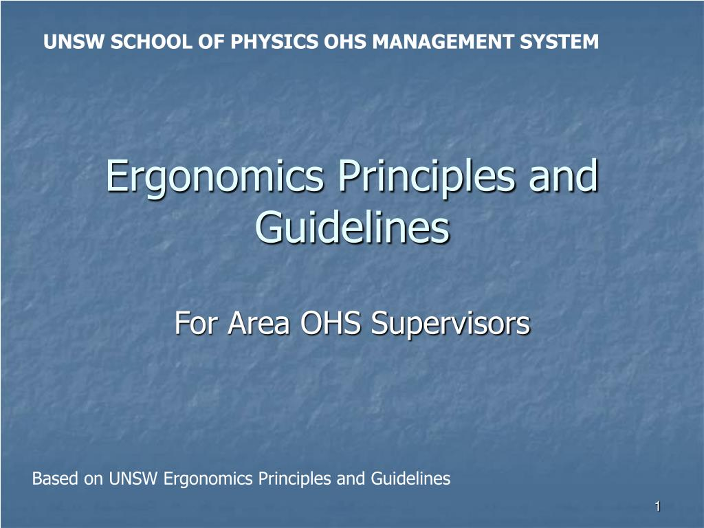 UNSW SCHOOL OF PHYSICS OHS MANAGEMENT SYSTEM