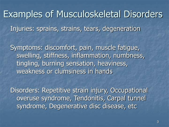 Examples of musculoskeletal disorders