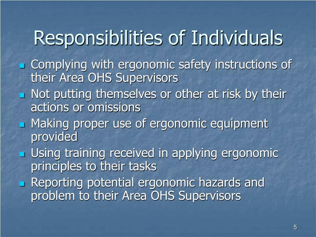 Responsibilities of Individuals