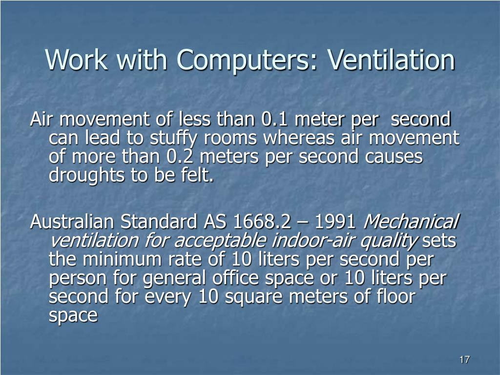 Work with Computers: Ventilation