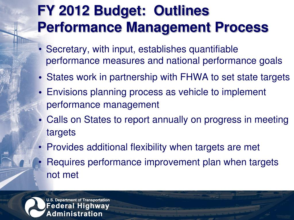 FY 2012 Budget:  Outlines Performance Management Process
