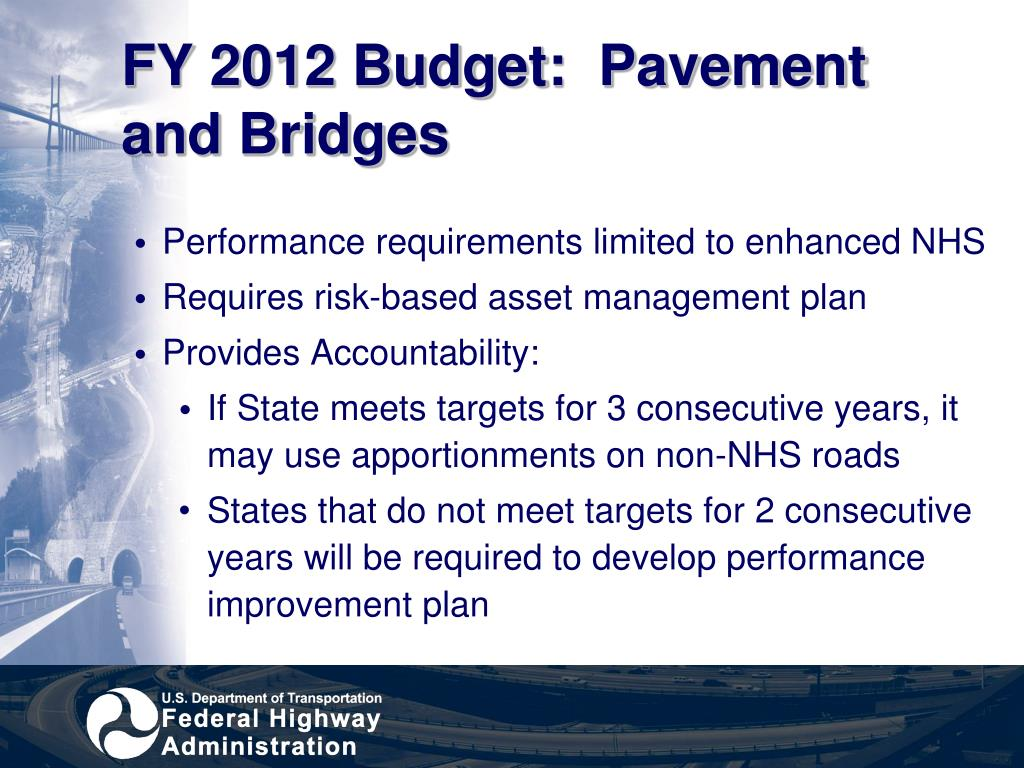 FY 2012 Budget:  Pavement and Bridges