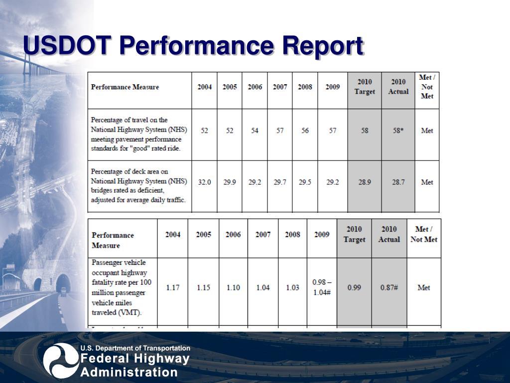 USDOT Performance Report