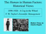 the human in human factors historical views