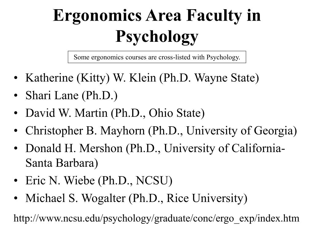 Ergonomics Area Faculty in Psychology