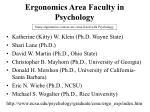ergonomics area faculty in psychology