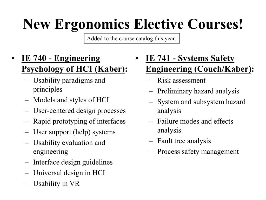 IE 740 - Engineering Psychology of HCI (Kaber)