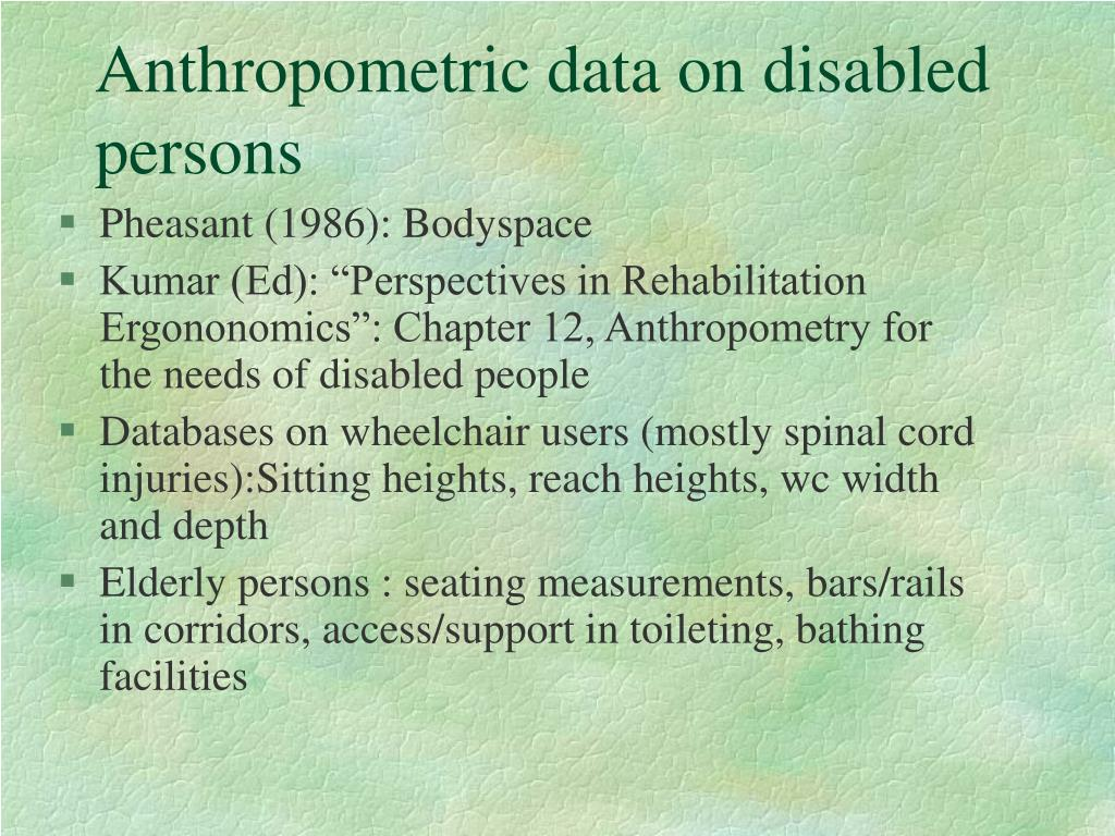 Anthropometric data on disabled persons