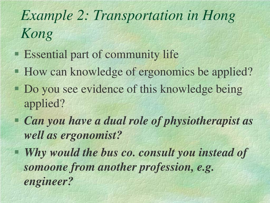 Example 2: Transportation in Hong Kong
