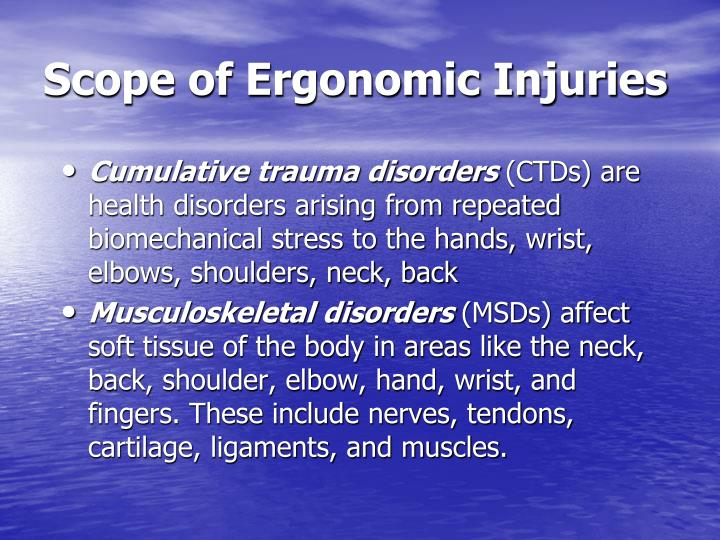 Scope of ergonomic injuries