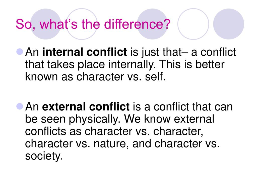 the major internal and external conflict Internal conflict is where the protagonist has problems with themself external conflict is where the protagonist has problems with the antagonist internal: a conflict inside a character, like .