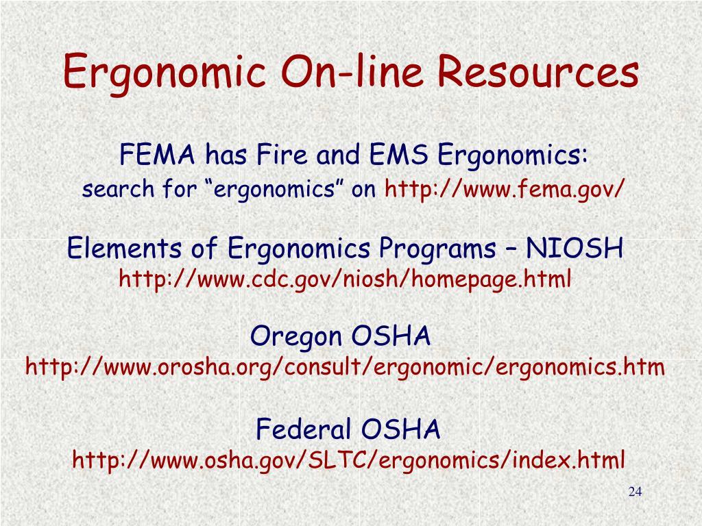 Ergonomic On-line Resources