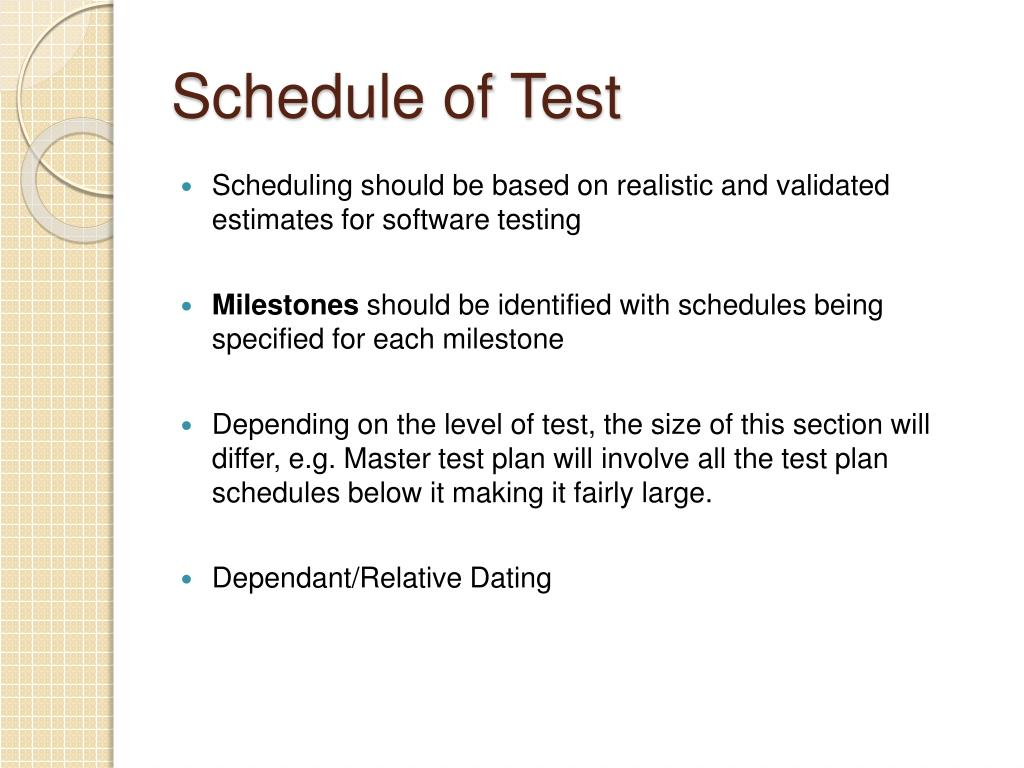 Schedule of Test