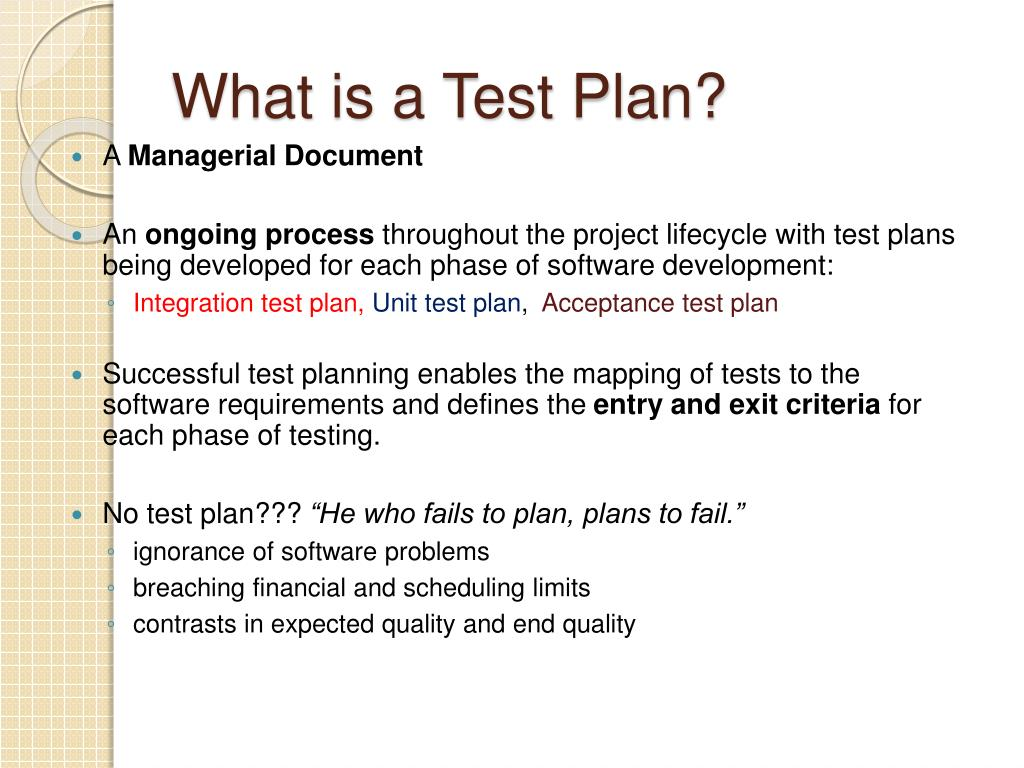 What is a Test Plan?